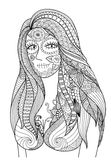 Doodle design of sexy girl dress up for Halloween party , design for Halloween design element and adult coloring - Stock  Stock Image