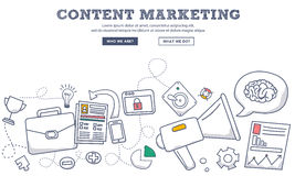Doodle design style concept of content marketing , marketing and sharing of digital content. Modern line style illustration. For web banners, hero images royalty free illustration