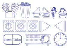 Doodle design of the things for movie marathon Stock Photography