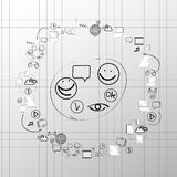 Doodle design vector set concept  for cooperation.  Royalty Free Stock Photo