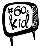 Doodle design with word 60s kid on TV. Illustration Royalty Free Stock Photo