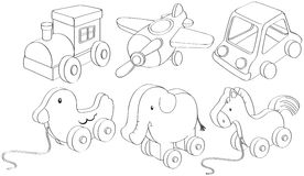 Doodle designs of toys. Illustration of the doodle designs of toys on a white background Stock Images
