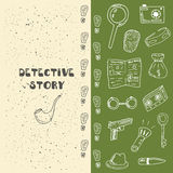Doodle detective objects collection Stock Photos