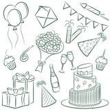 Doodle di compleanno Fotografia Stock Libera da Diritti