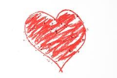 Doodle di cuore rosso Fotografia Stock
