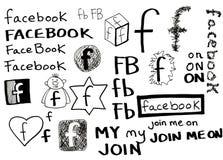 Doodle di Facebook Immagini Stock Libere da Diritti