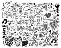 Doodle di giorno del biglietto di S. Valentino Fotografie Stock