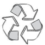Doodle di un segno di riciclaggio Fotografia Stock Libera da Diritti