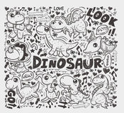 Doodle dinosaur element Stock Photos