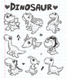Doodle dinosaur icons Stock Images