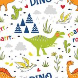 Doodle dinosaur pattern. Seamless fabric print, trendy hand drawn textile design, cute childish dragons. Vector stock illustration