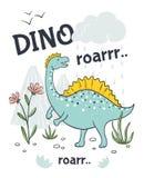 Doodle dinosaur poster. Cute cartoon animal character, hand drawn friendly baby dragon. Vector sketch print design. Doodle dinosaur poster. Cute cartoon animal stock illustration