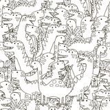 Doodle dinosaurs seamless pattern. Black and white cute dinos background. Great for coloring book, wrapping, printing, fabric and textile. Vector illustration Royalty Free Stock Photos