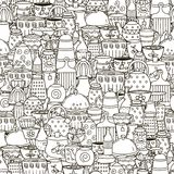Doodle dishes seamless pattern. Black and white background. With cups, pans, teapots and other kitchen things. Great for coloring book, wrapping, printing Royalty Free Stock Photos