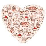 Doodle divertente dei dolci del cuore Fotografia Stock Libera da Diritti