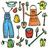 Doodle divertente dell'insieme di strumenti di giardinaggio Fotografie Stock Libere da Diritti