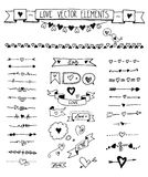 Doodle divider, arrow, border icons set with sketch hand drawn hearts elements. stock illustration