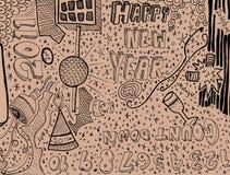 Doodle do ano novo feliz Fotografia de Stock