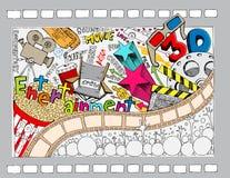 Doodle do cinema ilustração royalty free
