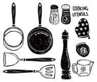 Doodle do utensílio de cozimento ilustração royalty free