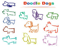 Doodle dog 002 colors royalty free stock image