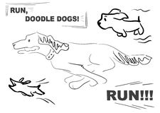 Doodle dog 004 run. Funny characters, picrure for game, different doodle dogs for funny life`s stories stock illustration