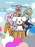 Doodle dogs group 01 vector illustration