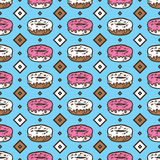 Doodle donuts pattern. Royalty Free Stock Photos