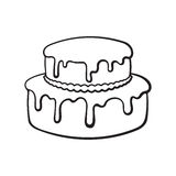 Doodle of double-tiered cream cake with glaze. Vector illustration. Hand drawn doodle of double-tiered cream cake with glaze. Cartoon sketch.  Decoration for Royalty Free Stock Images