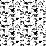 Doodle dove birds seamless pattern. Background with funny flyi. Doodle birds seamless pattern. Background with funny flying animals in the sky. Vector Royalty Free Illustration