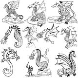 Doodle dragons Stock Images