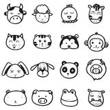 Doodle drawing animal face emotion. Set of doodle drawing outline animal face vector on white background Royalty Free Stock Photography