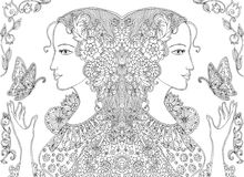Doodle drawing of beautiful women with butterflies and flowers. Royalty Free Stock Photography