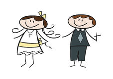 Doodle drawing: Communion Kids. Colorful doodle drawing of two happy kids celebrating first communion Stock Image