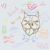 Doodle drawing of dog and accessory Royalty Free Stock Photography