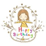 Doodle drawing vector of cute girl smile and open arms with Happy Birthday word Royalty Free Stock Images