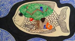 Doodle drawing zen art magic fish tribal hand-drawn illustration. Mandala fish hand-drawn, drawing of fish in tribal native style, buddhist ornament fish, fish Stock Photos