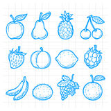 Doodle drawn fruits Royalty Free Stock Images