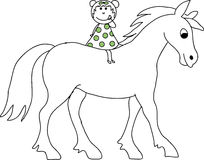 Doodle Drawn Girl on a Horse Royalty Free Stock Image