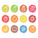 Doodle drawn icons fruits Stock Photography