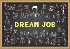 Doodle about dream job on chalkbaord Royalty Free Stock Images