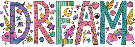 Doodle Dream lettering vector illustration