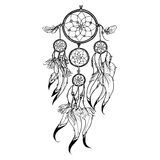 Doodle Dreamcatcher Illustration. Doodle dreamcatcher with feather decoration isolated on white background vector illustration Royalty Free Stock Images