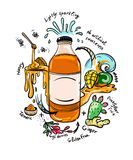 Doodle drinking bottle with natural ingredients Stock Photo
