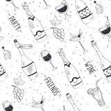 Doodle drinks pattern. Drinks doodle pattern. Hand drawn beverages seamless background. Doodle sncks and drinks black on white. Beverages, glass, bottles, grapes Stock Images