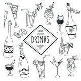Doodle drinks. Drinks doodle set. Hand drawn cocktails icons  on white background. Doodle beverages collection. Bottles, glass, cocktails. Water, wine and juice Stock Images