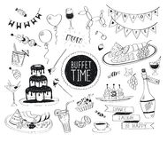 Doodle drinks and snacks. Buffet party doodle set. Hand drawn beverages icons  on white background. Doodle food and drinks. Chocolate fountain, fruit, bottle Royalty Free Stock Photo