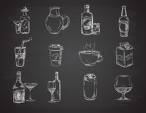 Doodle drinks, wine, beer, bottles. hand drawn beverages vector collection Royalty Free Stock Photos