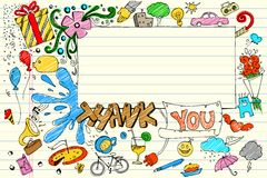 doodle dziękować ty Zdjęcia Stock