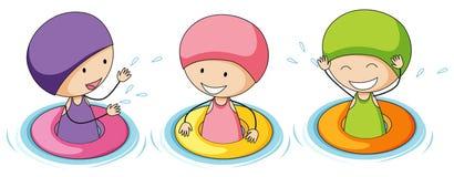 Doodle dzieciaki bawić się w wodzie ilustracji